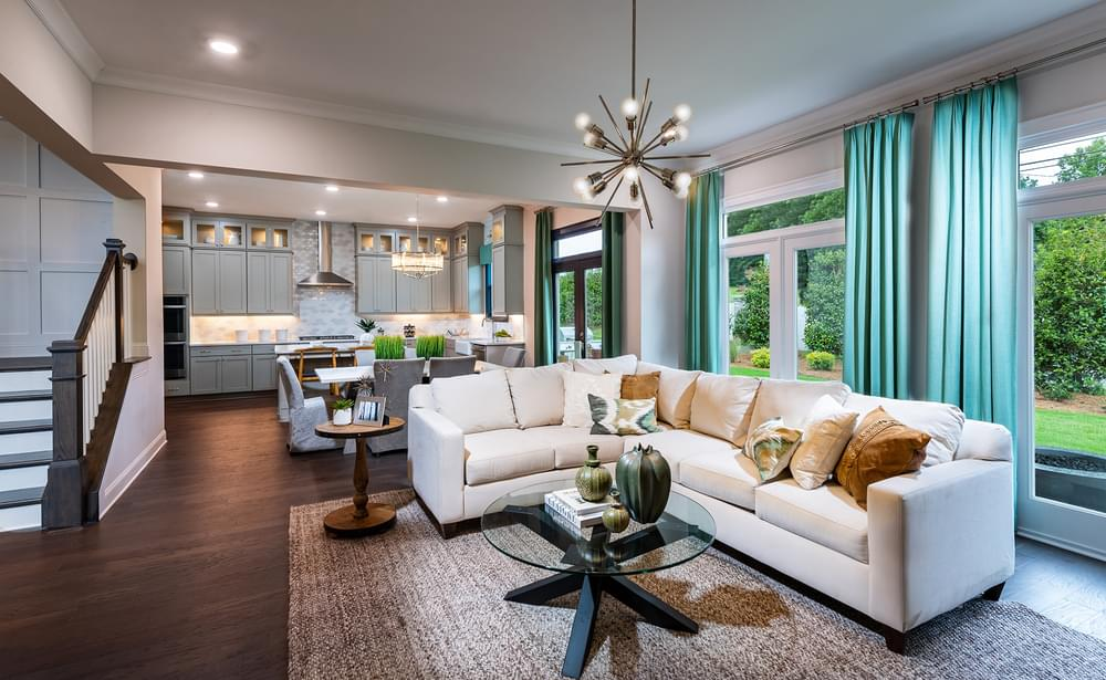 Montgomery Home Design Family Room. The Montgomery New Home in Johns Creek, GA