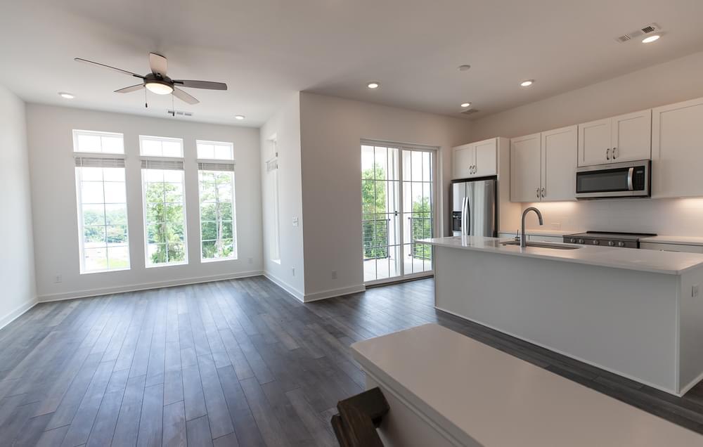 Edgehill Home Design Family Room and Kitchen. New Home in Alpharetta, GA