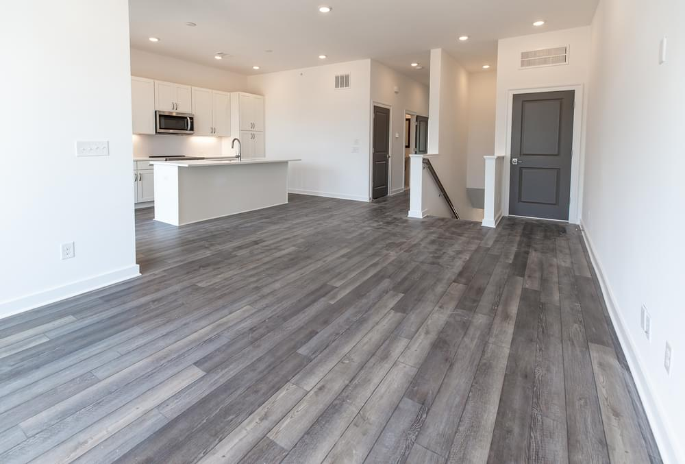 Edgehill Home Design Family Room and Kitchen. 1,341sf New Home in Alpharetta, GA