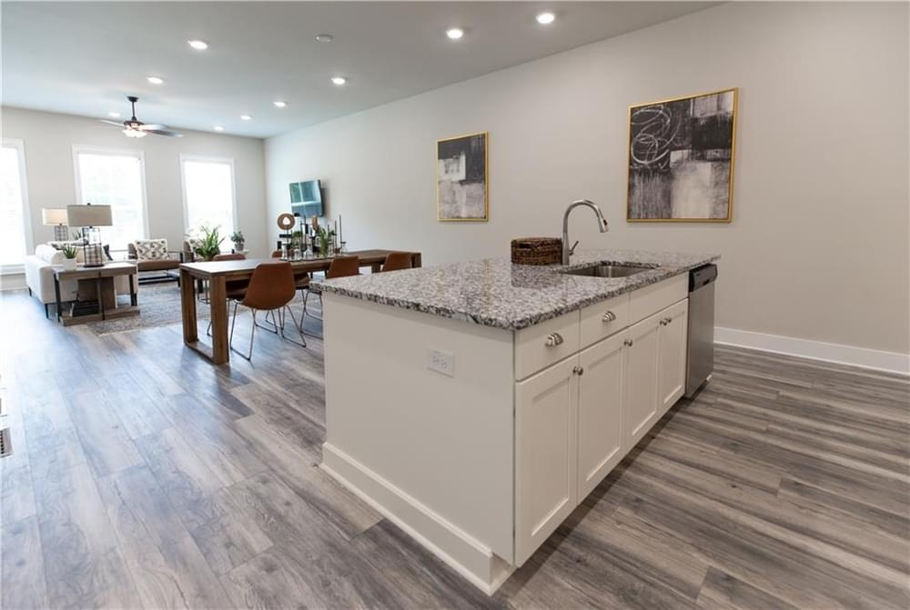 Kitchen Island and Living Room. Decatur, GA New Home