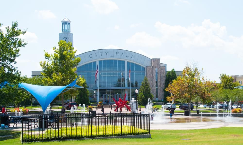 Suwanee Town Center Park and City Hall. Harvest Park New Homes in Suwanee, GA