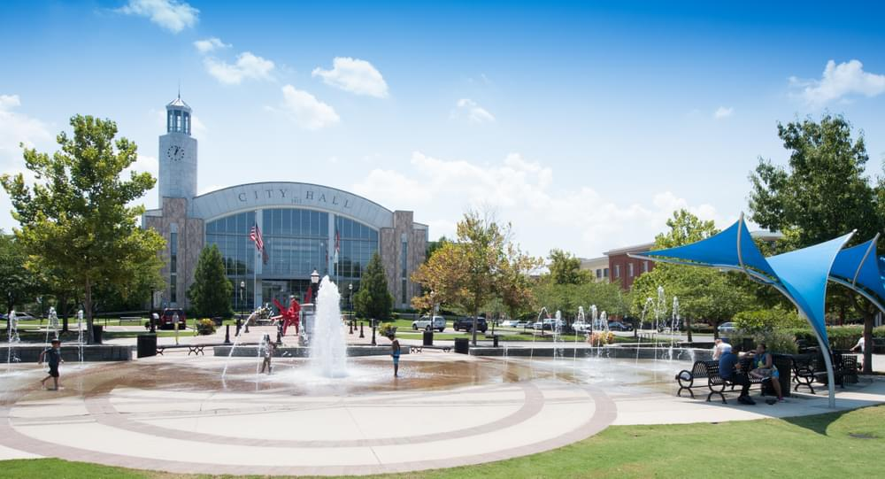 Suwanee Town Center Park and City Hall. Suwanee, GA New Homes