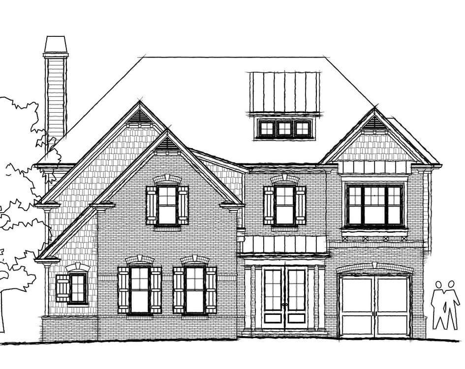 Elevation D. 3,751sf New Home in Johns Creek, GA