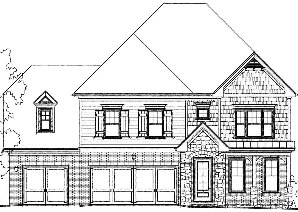 Elevation B. 3,765sf New Home in Johns Creek, GA