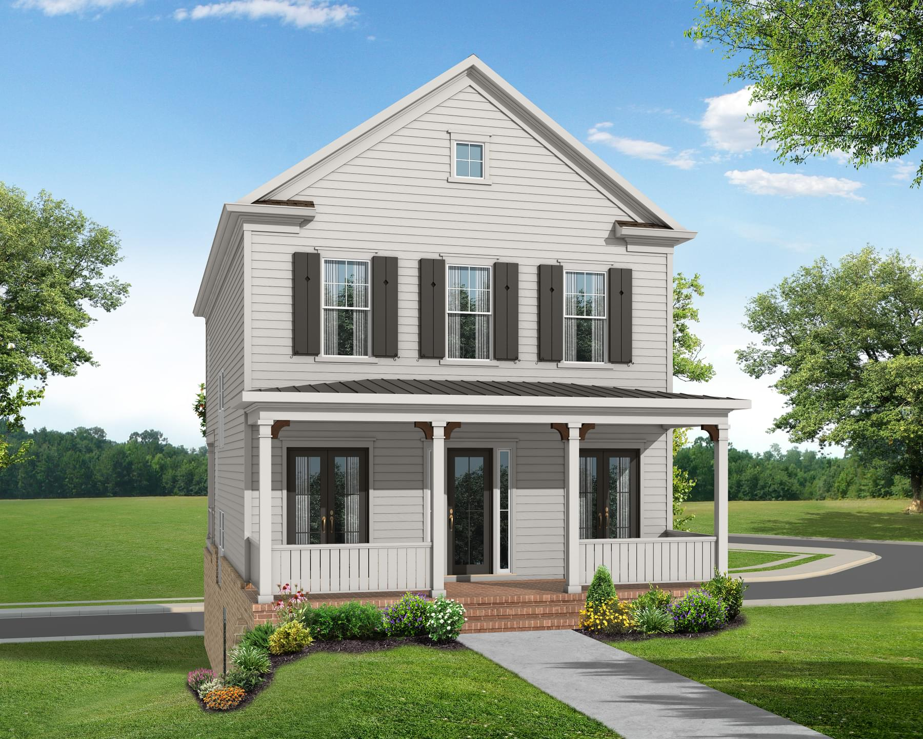 Elevation E. The Manchester Home with 3 Bedrooms