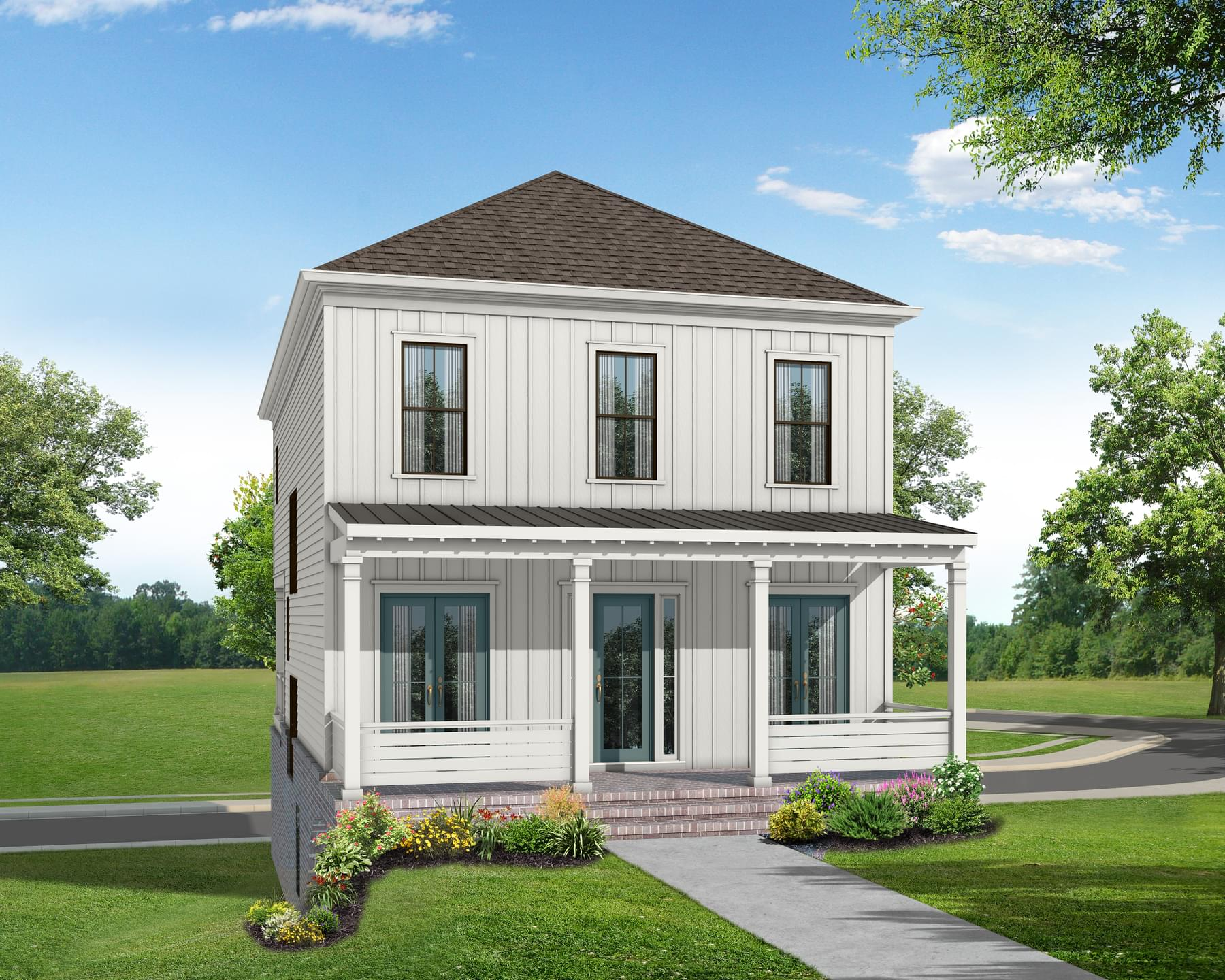Elevation F. The Manchester Home with 3 Bedrooms
