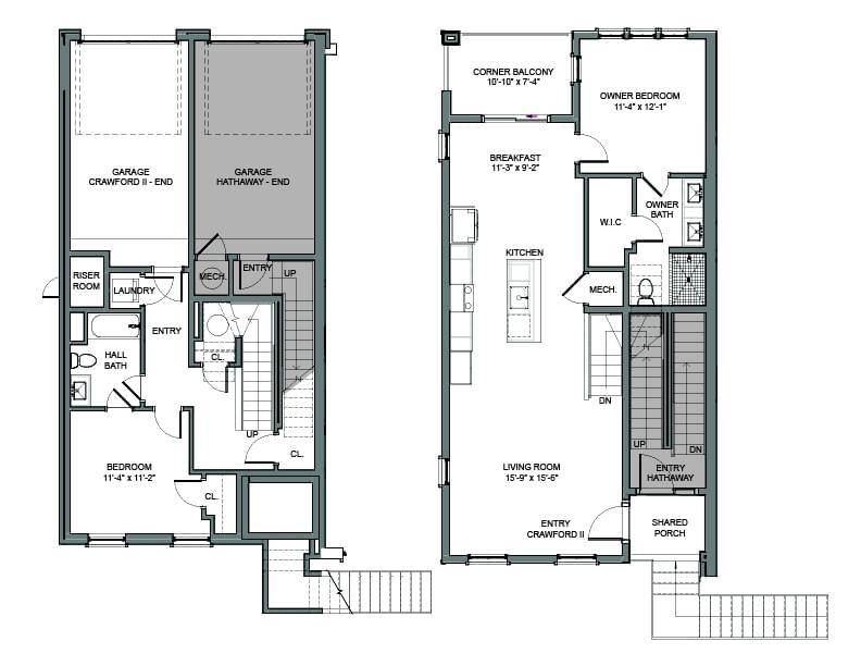 Floor Plans - End Unit Left. 1,455sf New Home in Alpharetta, GA
