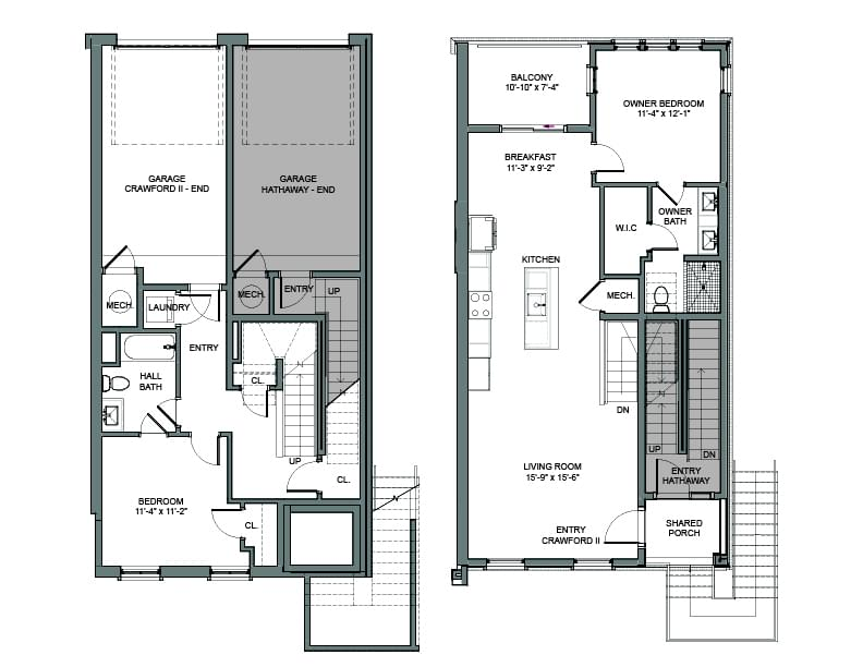 Floor Plans - End Unit Right. New Home in Alpharetta, GA