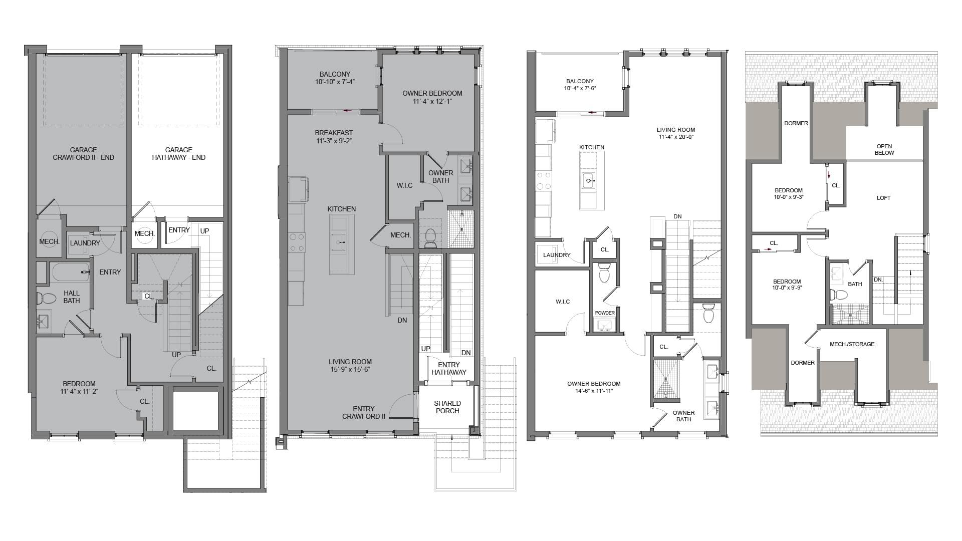 Floor Plans - End Unit R. The Hathaway New Home in Alpharetta, GA