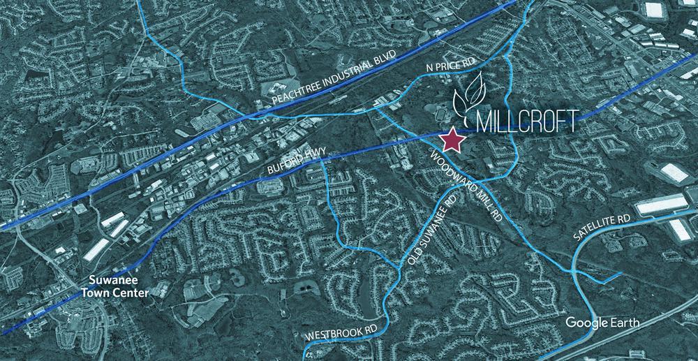 Millcroft - Location Aerial. Millcroft New Homes in Sugar Hill, GA