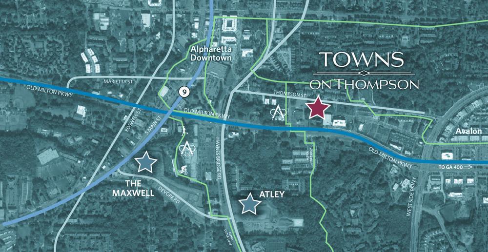Towns on Thompson - Location Aerial. New Homes in Alpharetta, GA