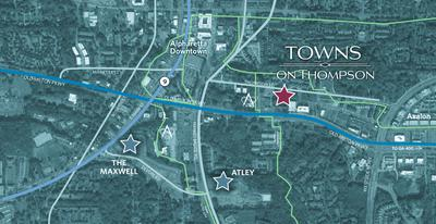 Towns on Thompson - Location Aerial. Towns on Thompson New Homes in Alpharetta, GA