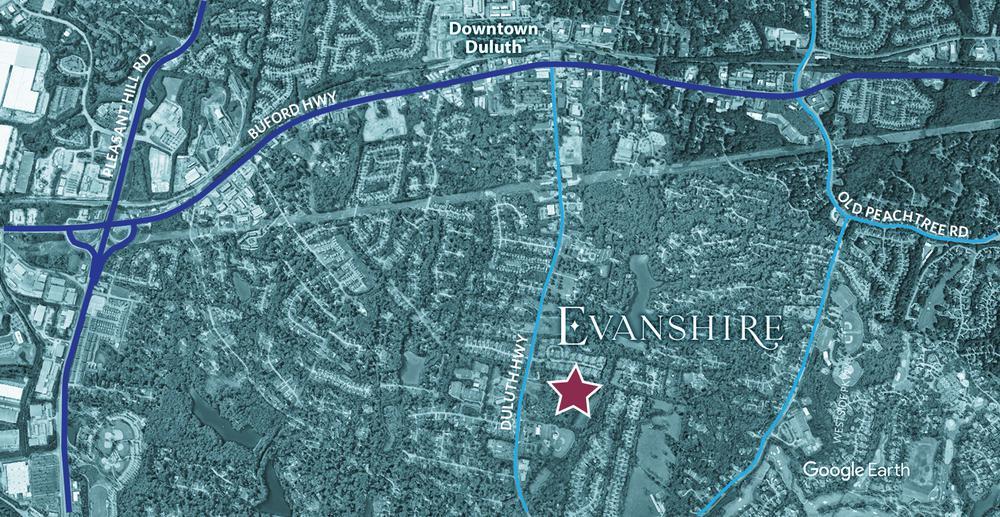 Evanshire - Location Aerial. Duluth, GA New Homes