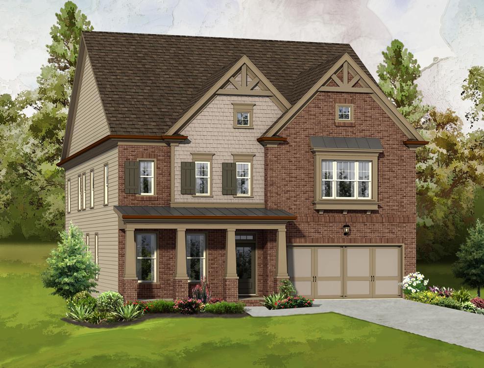Elevation C. 3,472sf New Home in Alpharetta, GA